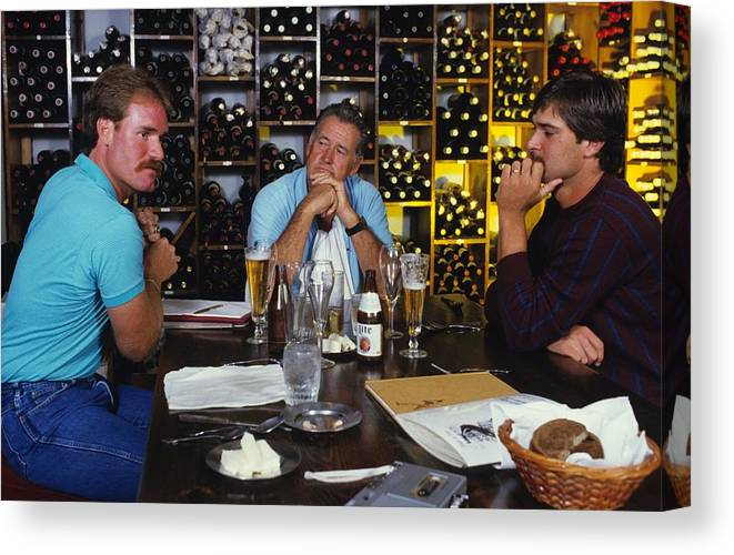 1980-1989 Canvas Print featuring the photograph Don Mattingly, Ted Williams, And Wade Boggs by Ronald C. Modra/sports Imagery