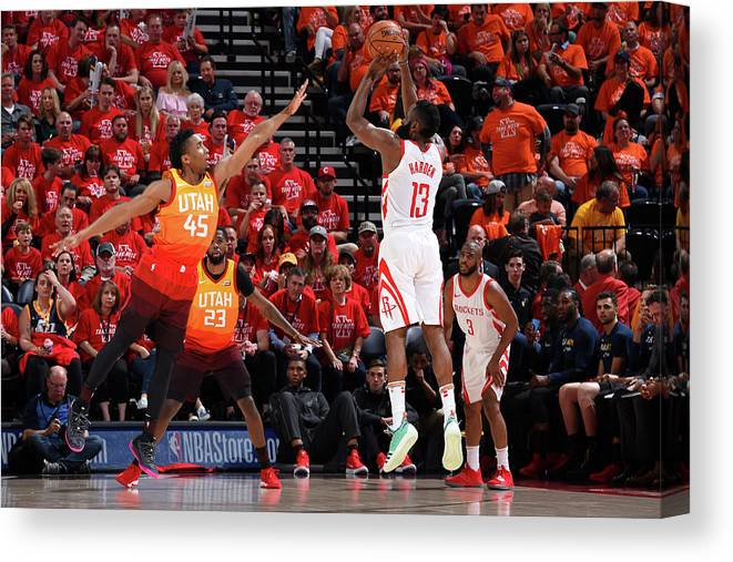 Playoffs Canvas Print featuring the photograph Donovan Mitchell and James Harden by Andrew D. Bernstein