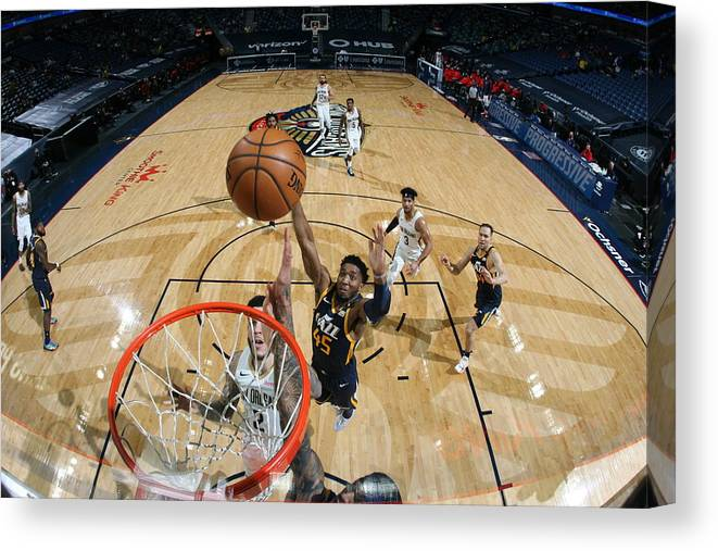 Smoothie King Center Canvas Print featuring the photograph Donovan Mitchell by Layne Murdoch Jr.