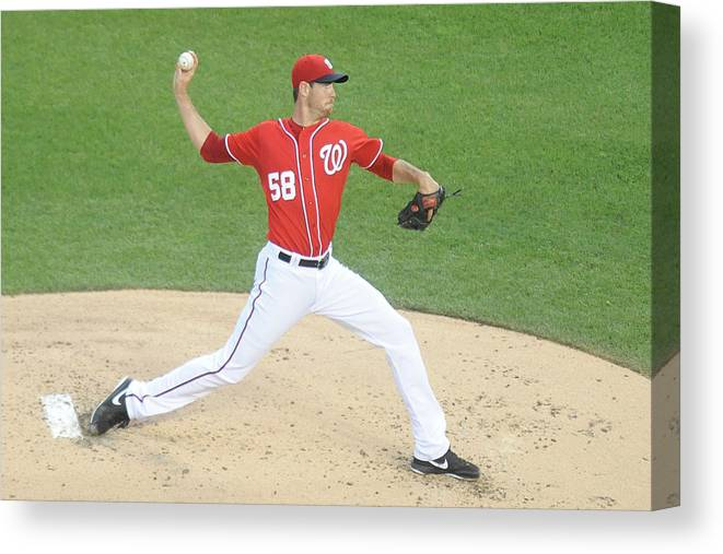 Second Inning Canvas Print featuring the photograph Doug Fister by Mitchell Layton