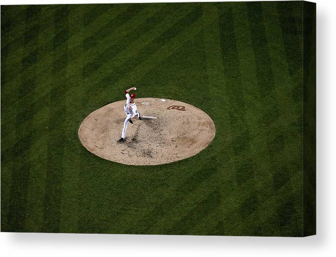 Working Canvas Print featuring the photograph Doug Fister by Patrick Smith