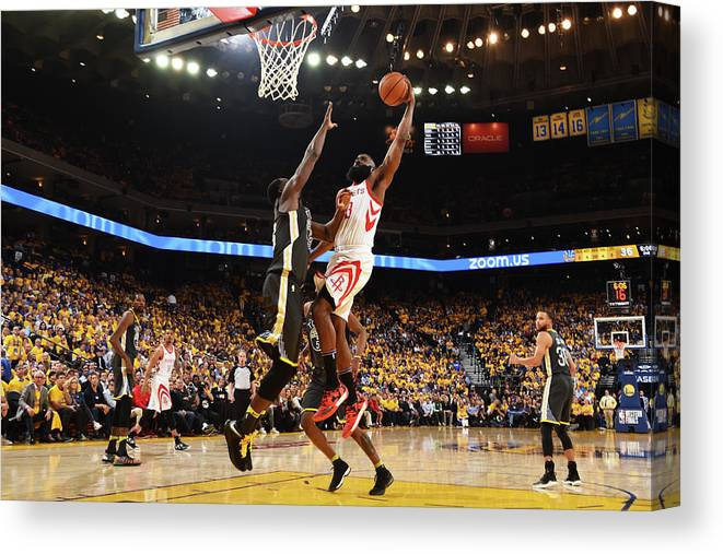 Playoffs Canvas Print featuring the photograph Draymond Green and James Harden by Andrew D. Bernstein