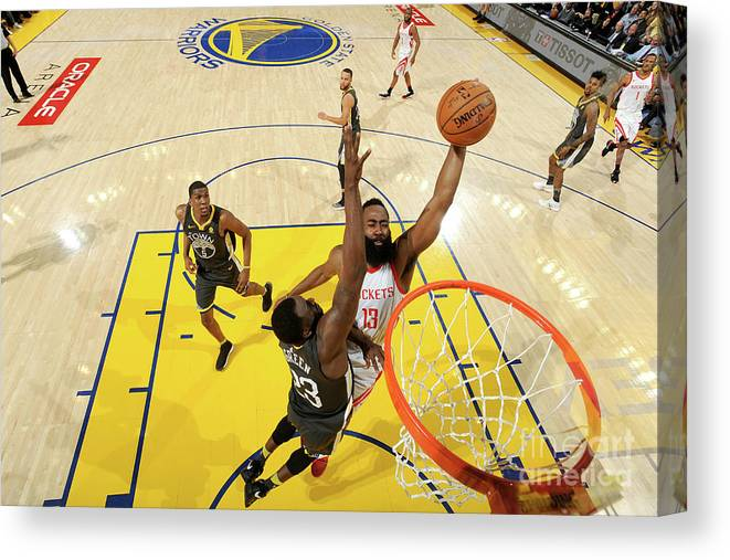 Playoffs Canvas Print featuring the photograph Draymond Green and James Harden by Noah Graham