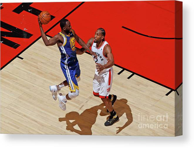 Playoffs Canvas Print featuring the photograph Draymond Green and Kawhi Leonard by Mark Blinch
