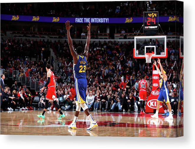 Nba Pro Basketball Canvas Print featuring the photograph Draymond Green and Klay Thompson by Jeff Haynes