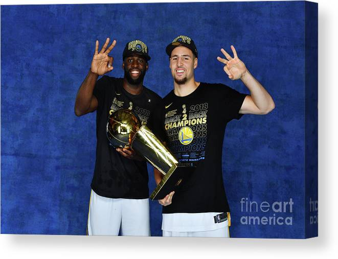 Playoffs Canvas Print featuring the photograph Draymond Green and Klay Thompson by Jesse D. Garrabrant