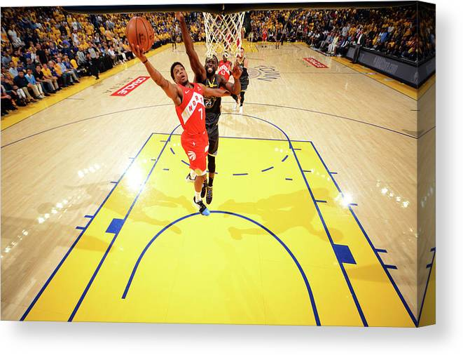 Playoffs Canvas Print featuring the photograph Draymond Green and Kyle Lowry by Jesse D. Garrabrant