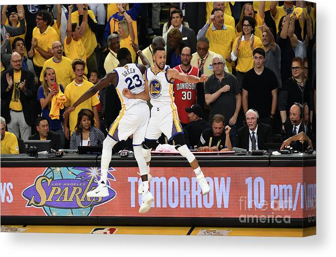 Playoffs Canvas Print featuring the photograph Draymond Green and Stephen Curry by Garrett Ellwood