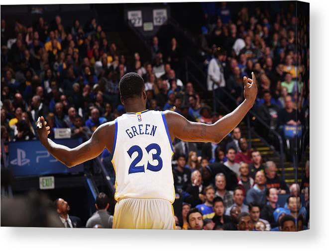 Nba Pro Basketball Canvas Print featuring the photograph Draymond Green by Noah Graham