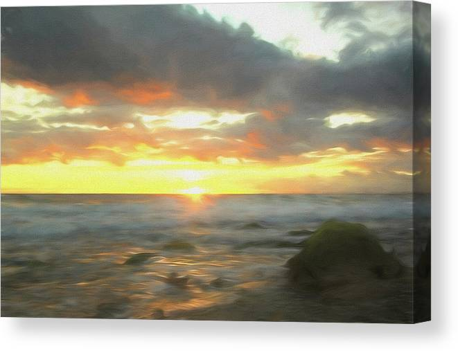 Seascape Canvas Print featuring the mixed media Dreamy Seascape by Steve DaPonte