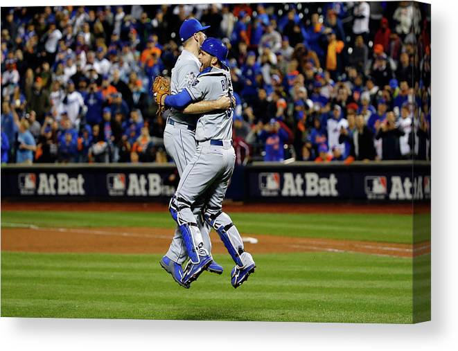 People Canvas Print featuring the photograph Drew Butera and Wade Davis by Al Bello