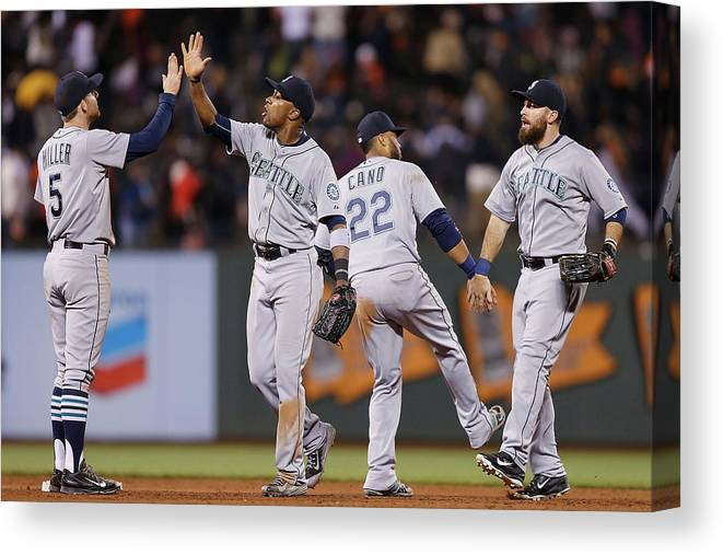 San Francisco Canvas Print featuring the photograph Dustin Ackley, Austin Jackson, and Brad Miller by Lachlan Cunningham