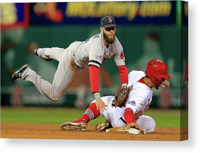 2nd Base Canvas Print featuring the photograph Dustin Pedroia, Jon Jay, and David Freese by Dilip Vishwanat