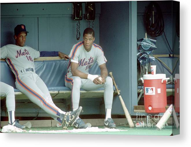 Dwight Gooden Canvas Print featuring the photograph Dwight Gooden and Darryl Strawberry by George Gojkovich