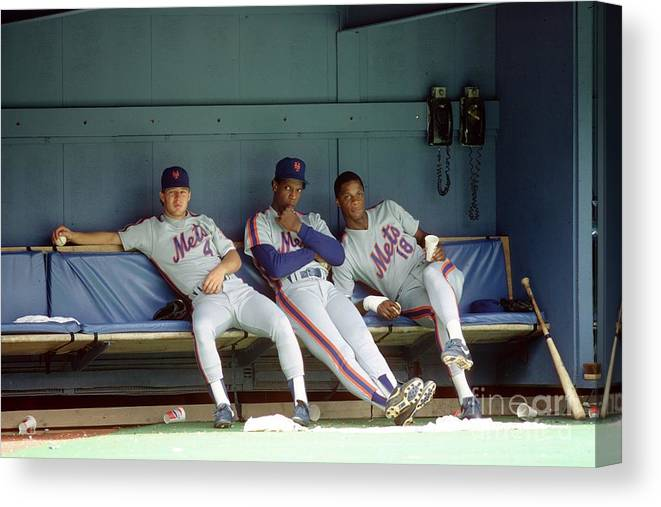 Dwight Gooden Canvas Print featuring the photograph Dwight Gooden, Darryl Strawberry, and Lenny Dykstra by George Gojkovich