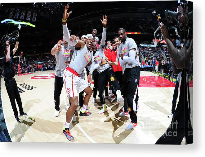 Atlanta Canvas Print featuring the photograph Dwight Howard and Paul Millsap by Scott Cunningham