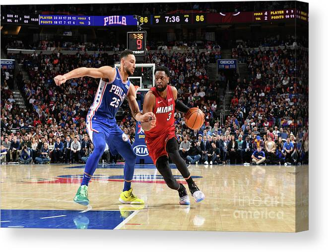 Nba Pro Basketball Canvas Print featuring the photograph Dwyane Wade and Ben Simmons by Jesse D. Garrabrant