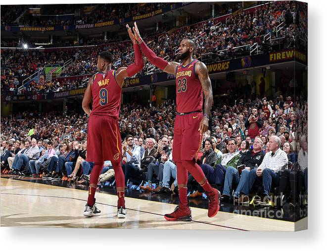 Nba Pro Basketball Canvas Print featuring the photograph Dwyane Wade and Lebron James by David Liam Kyle
