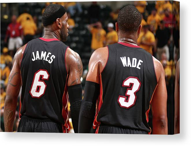 Playoffs Canvas Print featuring the photograph Dwyane Wade and Lebron James by Nathaniel S. Butler