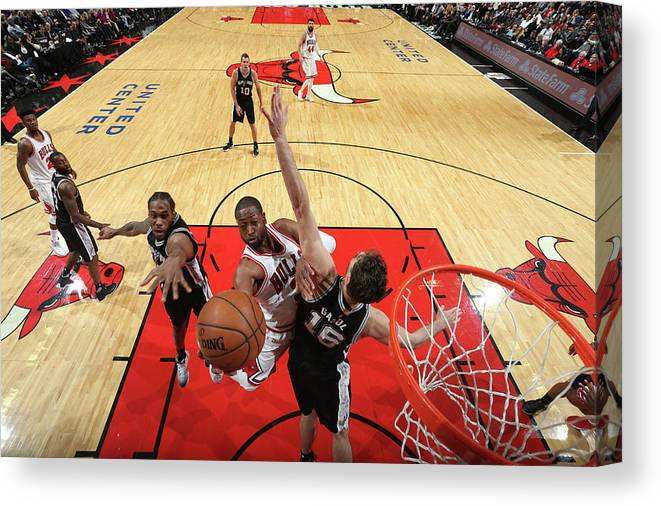Nba Pro Basketball Canvas Print featuring the photograph Dwyane Wade and Pau Gasol by Nathaniel S. Butler