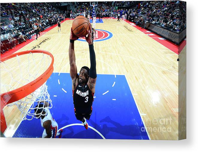 Nba Pro Basketball Canvas Print featuring the photograph Dwyane Wade by Chris Schwegler