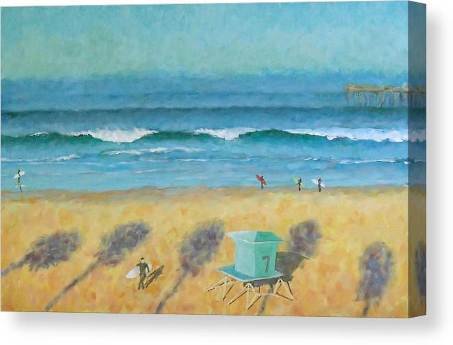 Life Guard Tower Canvas Print featuring the painting Tower Number Seven by Philip Fleischer