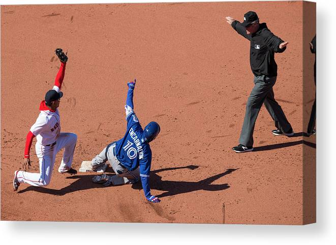 People Canvas Print featuring the photograph Edwin Encarnacion by Michael Ivins/boston Red Sox