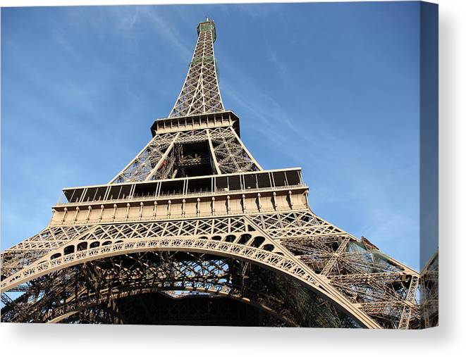 Directly Below Canvas Print featuring the photograph Eiffel Tower, Paris by Pejft