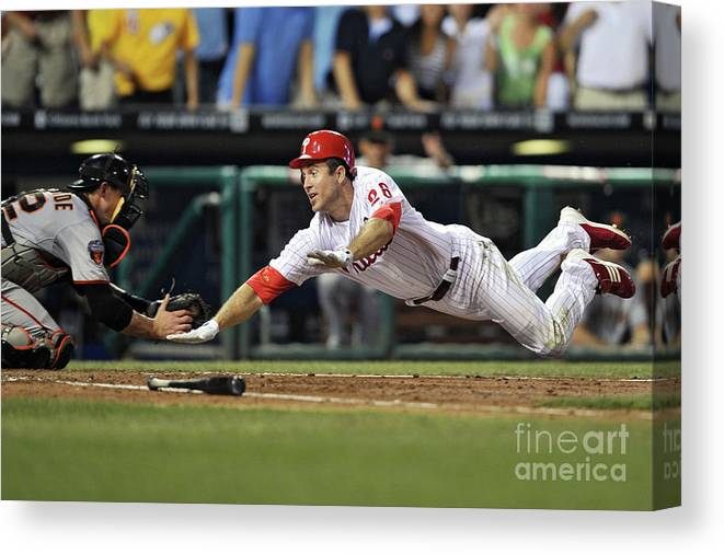 Citizens Bank Park Canvas Print featuring the photograph Eli Whiteside and Chase Utley by Drew Hallowell