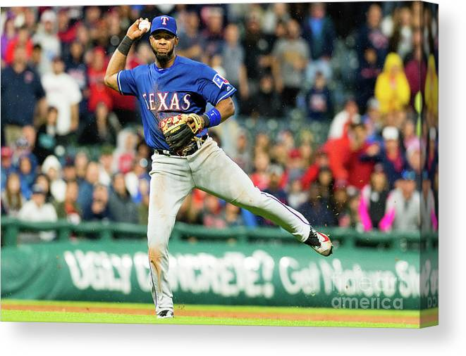 People Canvas Print featuring the photograph Elvis Andrus and Francisco Lindor by Jason Miller