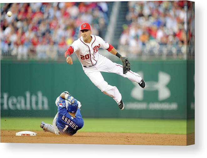 American League Baseball Canvas Print featuring the photograph Elvis Andrus and Ian Desmond by Greg Fiume