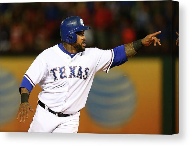 Three Quarter Length Canvas Print featuring the photograph Elvis Andrus and Prince Fielder by Sarah Crabill