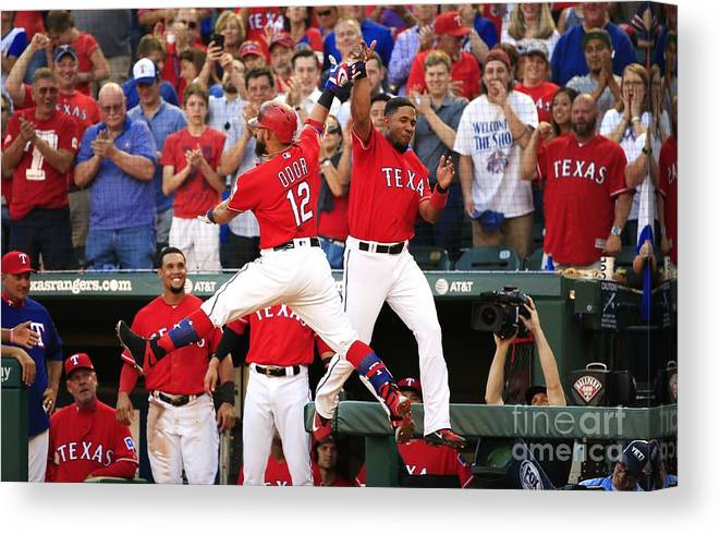 Second Inning Canvas Print featuring the photograph Elvis Andrus and Rougned Odor by Ron Jenkins