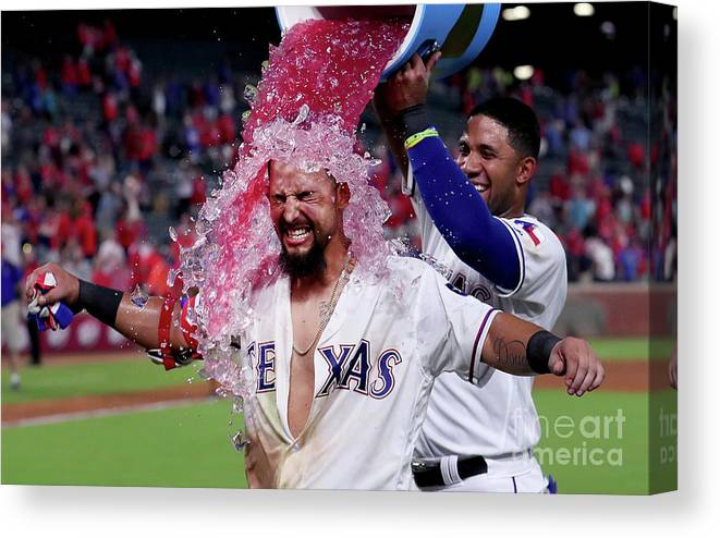 Ninth Inning Canvas Print featuring the photograph Elvis Andrus and Rougned Odor by Tom Pennington
