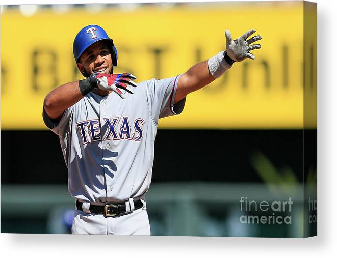 People Canvas Print featuring the photograph Elvis Andrus by Brian Davidson
