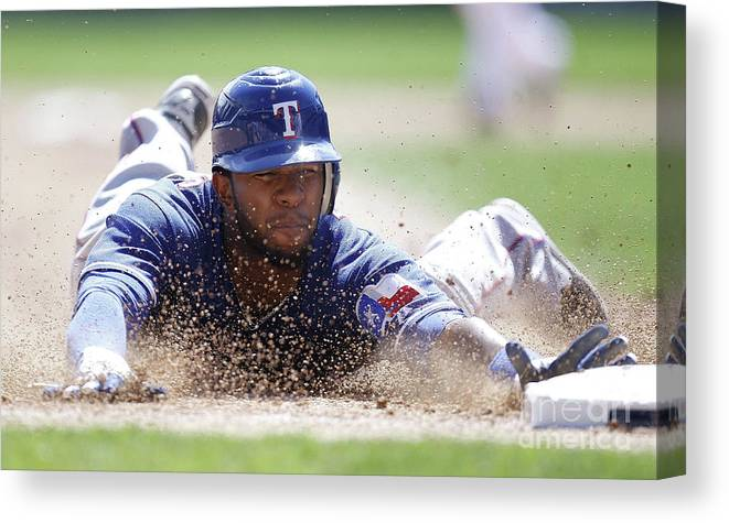 American League Baseball Canvas Print featuring the photograph Elvis Andrus by Gregory Shamus