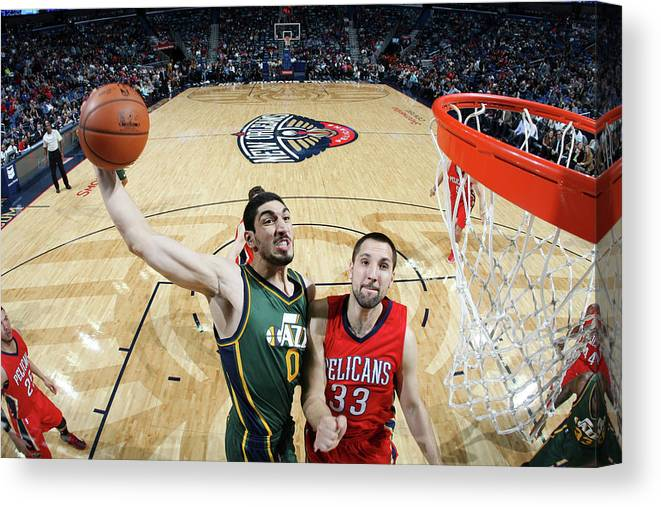 Smoothie King Center Canvas Print featuring the photograph Enes Kanter by Layne Murdoch
