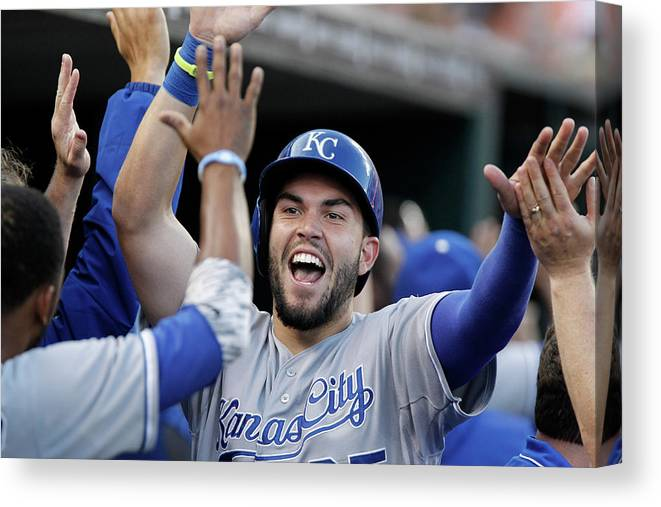 American League Baseball Canvas Print featuring the photograph Eric Hosmer and Billy Butler by Duane Burleson