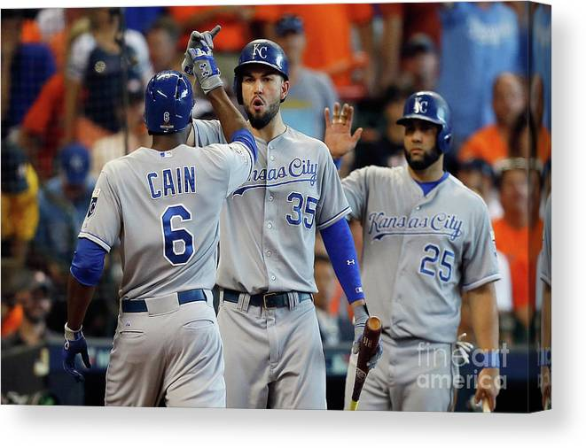 Three Quarter Length Canvas Print featuring the photograph Eric Hosmer and Lorenzo Cain by Bob Levey