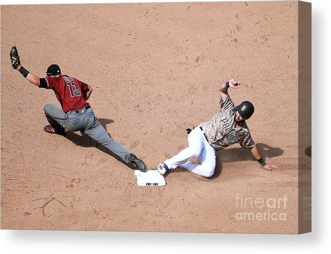 People Canvas Print featuring the photograph Eric Hosmer and Nick Ahmed by Andy Hayt