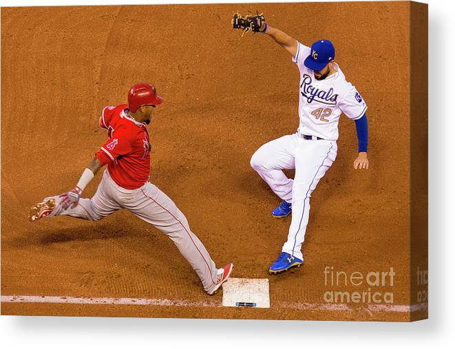 People Canvas Print featuring the photograph Eric Hosmer and Yunel Escobar by Kyle Rivas