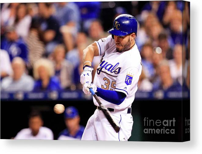 Three Quarter Length Canvas Print featuring the photograph Eric Hosmer by Brian Davidson