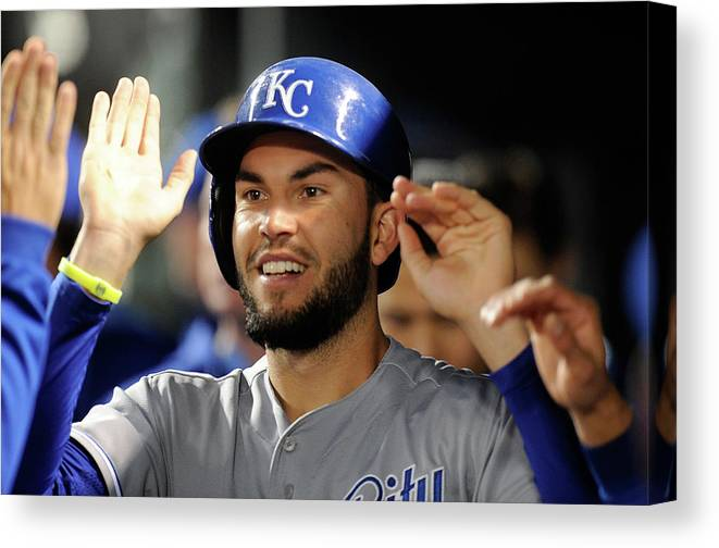 American League Baseball Canvas Print featuring the photograph Eric Hosmer by Greg Fiume
