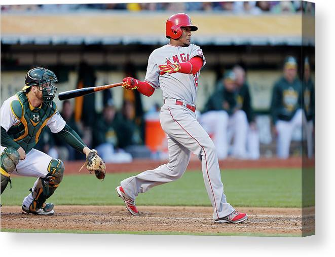 Following Canvas Print featuring the photograph Erick Aybar and Stephen Vogt by Brian Bahr