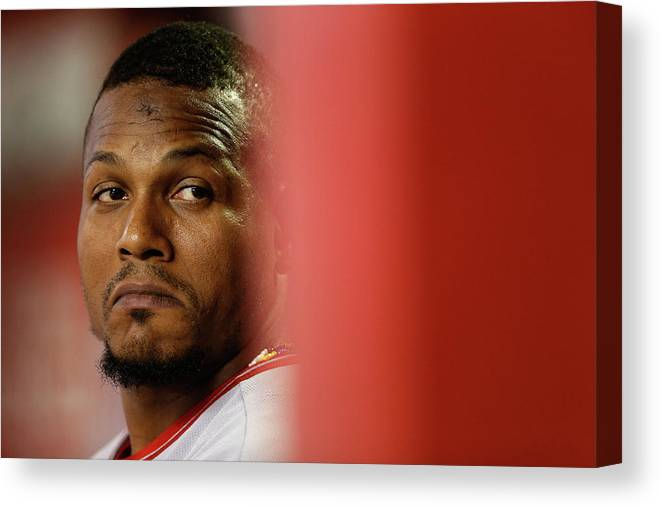 People Canvas Print featuring the photograph Erick Aybar by Christian Petersen