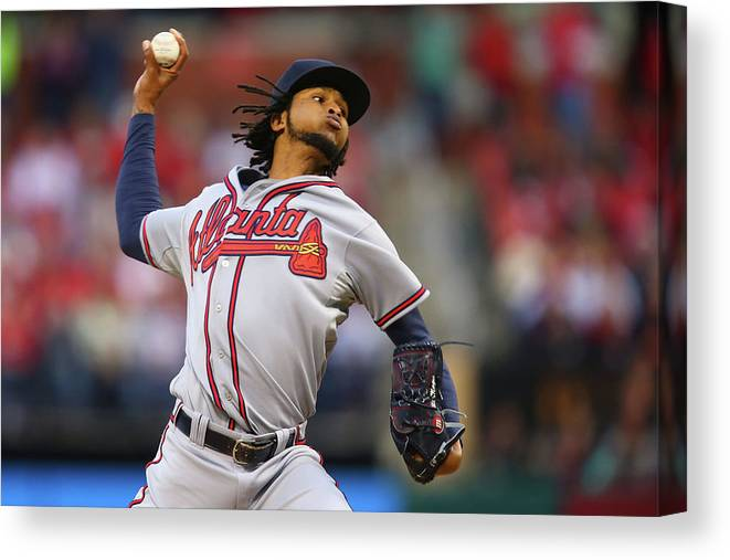 St. Louis Canvas Print featuring the photograph Ervin Santana by Dilip Vishwanat