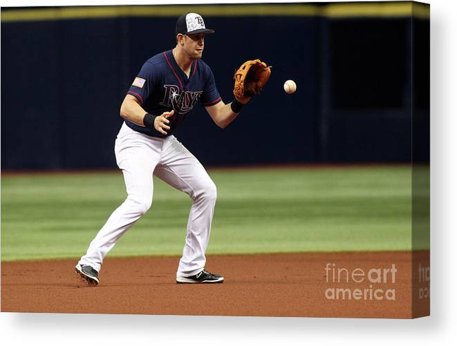 People Canvas Print featuring the photograph Evan Longoria and Mike Trout by Brian Blanco