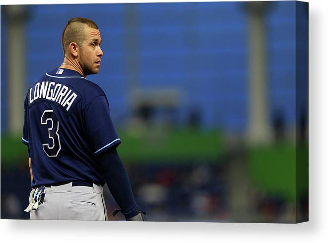 American League Baseball Canvas Print featuring the photograph Evan Longoria by Mike Ehrmann