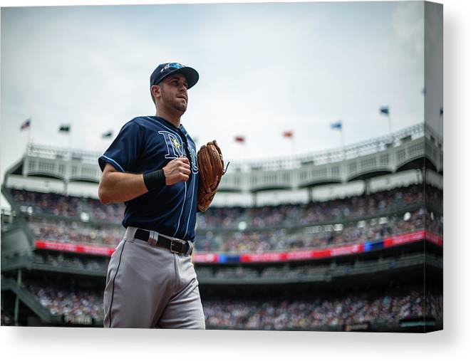 American League Baseball Canvas Print featuring the photograph Evan Longoria by Rob Tringali