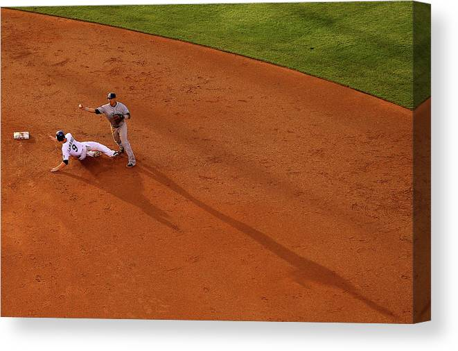 Double Play Canvas Print featuring the photograph Everth Cabrera and Dj Lemahieu by Justin Edmonds
